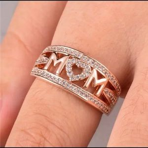 Rose Gold Filled Mother's Ring White Sapphire